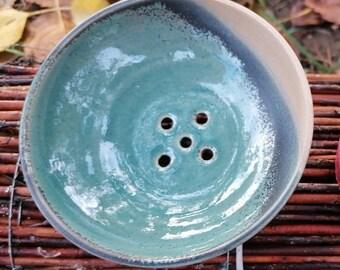 Soap dish, soap bowl, round soap dish, ceramic soap dish, turquoise soap dish