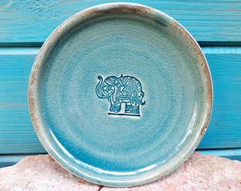 """Small plate """"Elephant"""", ceramic plate, plate pottery, plate turquoise"""