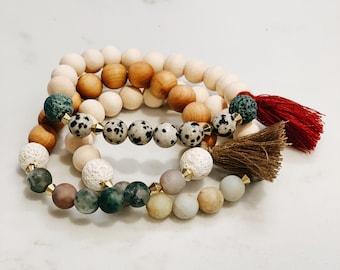 Three customized stone bracelets