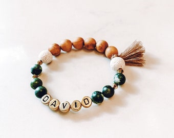 Customized Diffuser Name Bracelet with Tassel