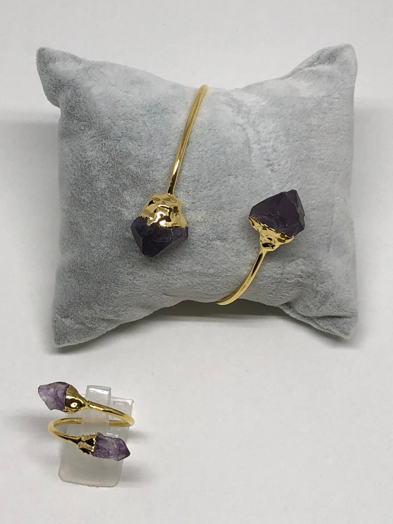 24k Gold Plated Amethyst Bracelet,Ring and Earring,Agate Stone Gift for her Beautiful Bangle Set of 3 S3
