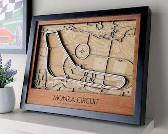 Monza Layered 3D Wood Map Formula 1 F1 Race Track Wall Art