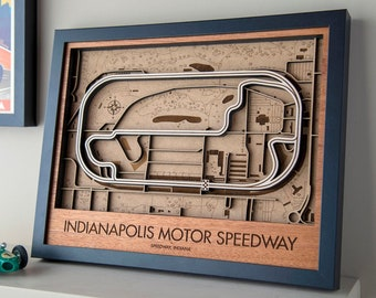 Indianapolis Motor Speedway 3D Wood Race Track Map Wall Art Customizable