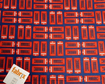 Fat Quarter, 'Britain's Best', Greta Lynn, Red Telephone Boxes, London, Fabric, Patchwork, Quilting, Cotton, England, UK