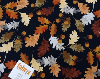 Fat Quarter, Leaf into Autumn, Falling Leaves, Oak, Acorn, Quilting, Patchwork, Cotton, Trees. Forest, Autumn Fabric, Woodlands, Trees, Fall