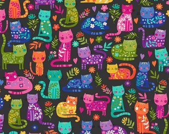 Fat Quarter, Makower 2348, Katie's Cats, Cats Allover, Cat, Kitty, Pawprints, Quilting, 100% Cotton, Cat Fabric, Patchwork, Rainbow