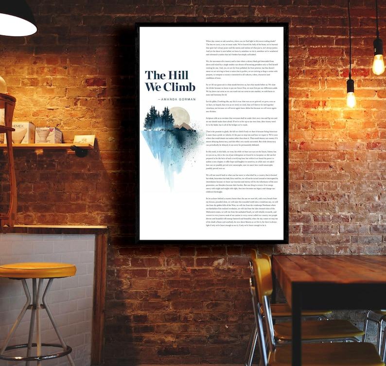 Amanda Gorman Poem Amanda Gorman Full Poem The Hill We Climb Gorman poem Print American Poet The Hill We Climb Inauguration Poem 2021