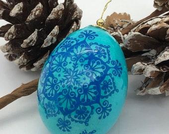 Pysanka Egg, Blue Christmas Ornament, Traditional Pysanky Art, Ukrainian easter egg, Unique Gift Idea, Nova Scotia, Blue batik eggs