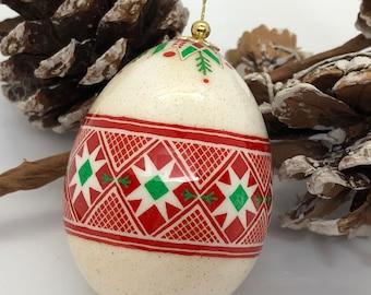 Pysanka Egg, White & Red Christmas Ornament, Traditional Pysanky Art, Christmas gift, Unique Gift Idea, Nova Scotia, Ukrainian Easter egg
