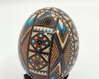 Etched Pysanka Egg, Ukrainian Easter egg, Cuckoo Maran, Traditional pysanky art, Unique Gift idea, Nova Scotia, gift for him, batik egg art