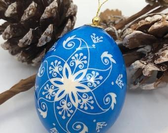 Pysanka Egg, Blue Christmas ornament, Pysanky Art, Ukrainian Easter egg, Traditional pysanky, Unique Gift Idea, Nova Scotia, Christmas Gift