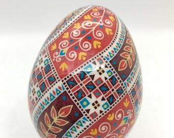Red Pysanka Egg, Ukrainian Easter Egg, Red Turkey Egg, Traditional pysanky art, Unique Gift idea, Nova Scotia, wedding gift, batik egg