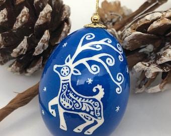 Pysanka Egg, Blue Deer Christmas Ornament, Pysanky Art, Ukrainian Easter egg, Traditional pysanky, Unique Gift Idea, Nova Scotia, Xmas gift