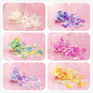 Slime charms resin fillers pearl heart bow round embellishments slime craft rainbow inclusions slime fillers resin shaker charms