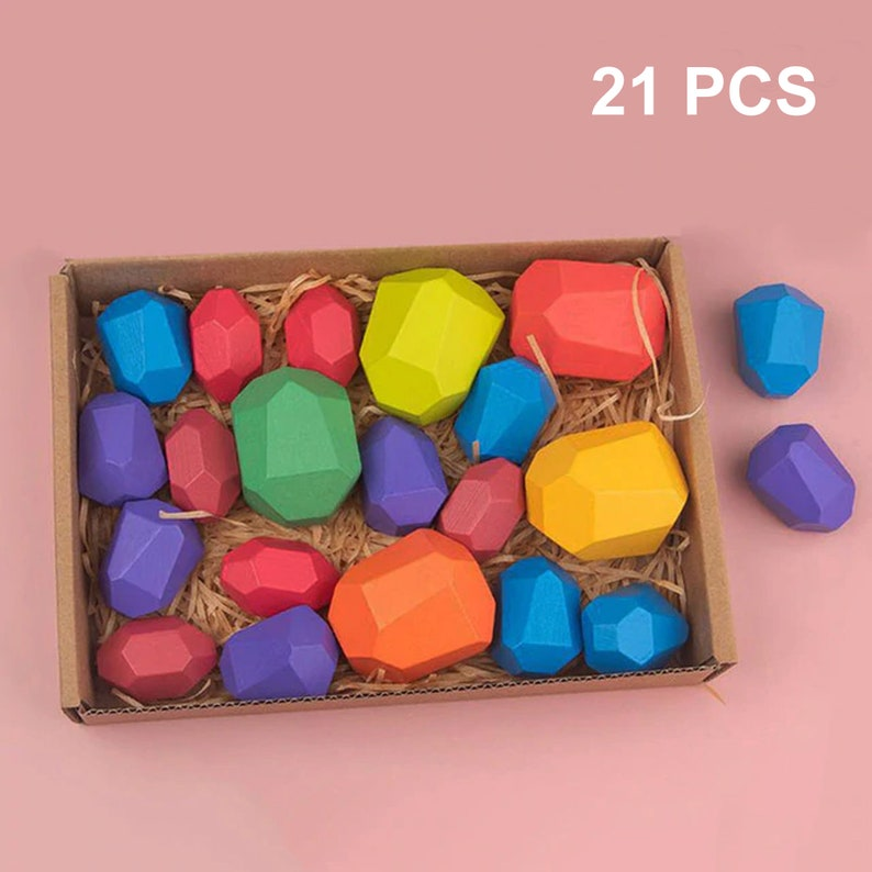 Kids Baby Creative Toy Wooden Colored Stacking Balancing Stone Building Blocks