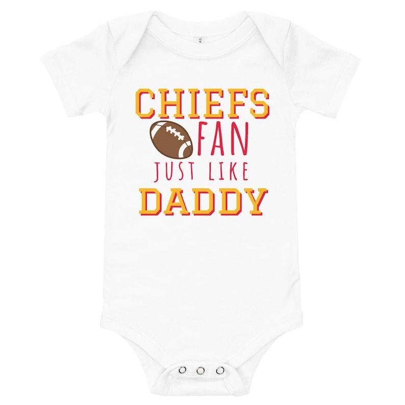 Kansas City Chiefs Fan Like Daddy Onesies\u00ae Football Jersey .Baby Shower Gift Baby Graphic Onesies\u00ae Kansas City Chiefs Football