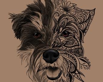 Custom Digital Pet Portrait Illustration Mandala Tattoo  Pet Cartoon  Digital Pet Art  Dog Portrait  Cat Portrait  Digital Painting