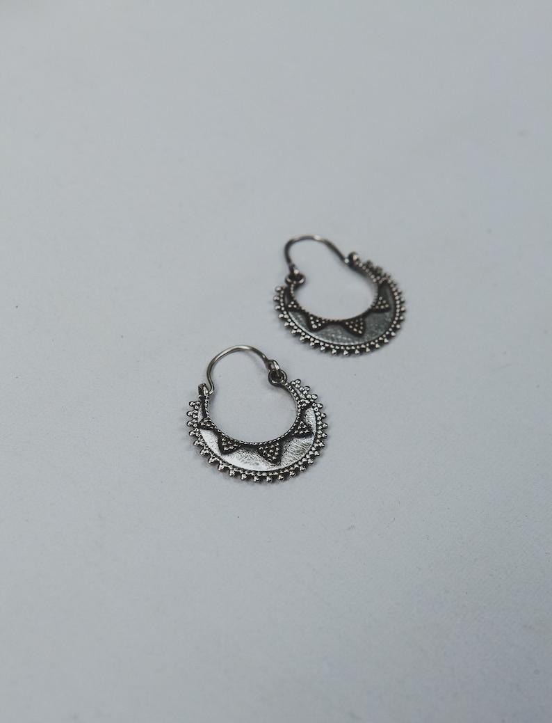 Solid Sterling Silver Classic Rajasthani Dot Work Hoop Earrings