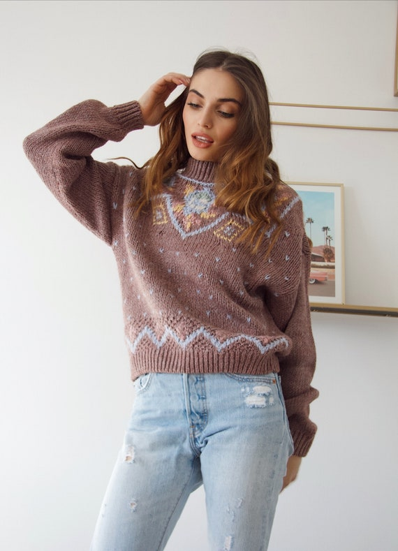 Vintage wool Sweater 70s handknitted oversized swe