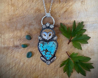 new sterling owl and fawn jasper pendant necklace