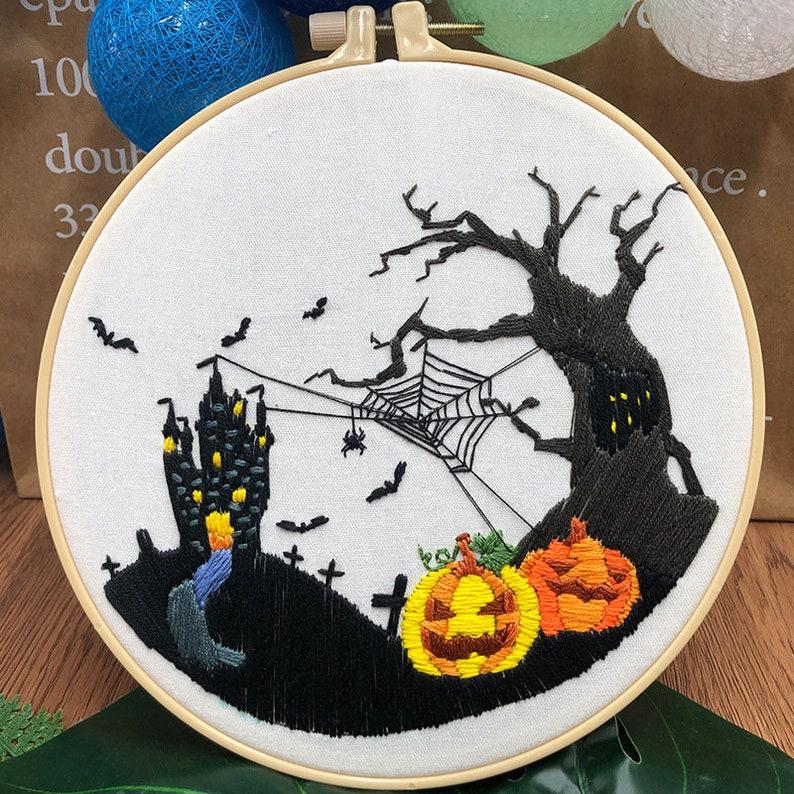 hoop art IP203 Halloween embroidery kit skull embroidery kit gift for her quality embroidery diy kit DIY craft embroidery kit