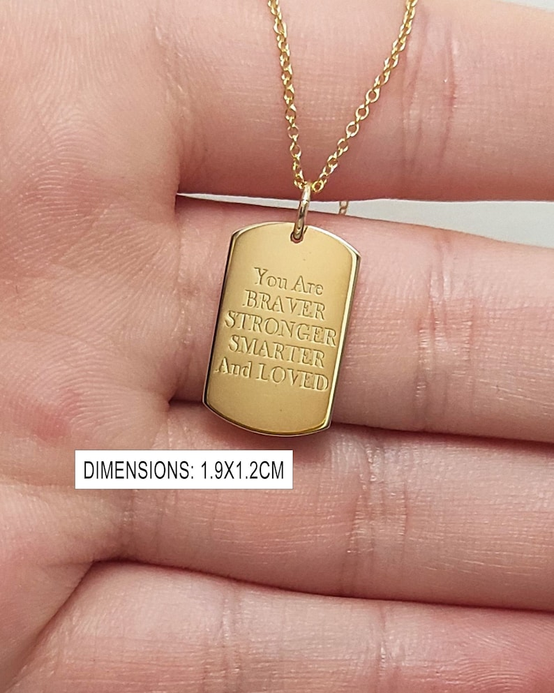 Tag Necklace Engraved Necklace Gold Tag Necklace Gift for Her Personalized Gift 14K Gold Necklace Gold Coin Pendant Dog Tag Pendant