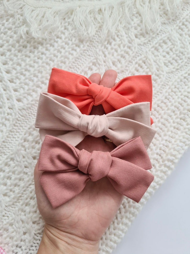 Girls cotton hair clips Handmade with grace DUSTY PINK school hair bow Large Handmade Bow Attached to Clip or Headband