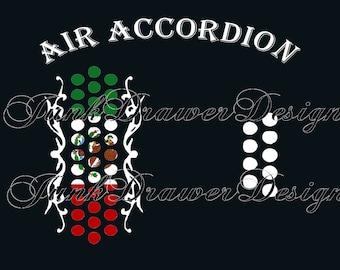 Air Accordion design for t-shirt  Two design files for Sublimation or Vinyl - Sublimation design png - Vinyl design svg