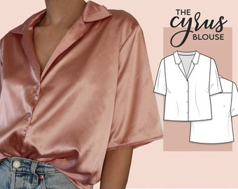 Button up shirt - Notched collar - Sewing Pattern instant PDF download