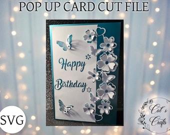 Pop up, 3D, Pop up Happy Birthday pop up, card cut file, Card making, cut file, digital download, SVG, Cricut friendly, Paper cut