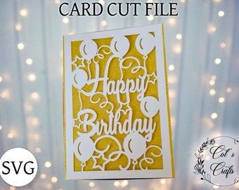 Happy Birthday card cut file, Card making, cut file, digital download, SVG, Cricut friendly, Paper cut, Birthday