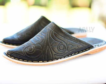 Handmade shoes Hand dyed Organic Leather Leather Shoes moroccan Babouche Berber slipper Mules gift for her Morocco Women/'s slippers