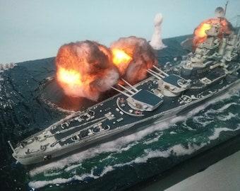 USS Battleship Resin Model North Carolina Battleship Scale 1:700 Handmade Art Water Warship Model Diorama For Military Navy Armament Lovers