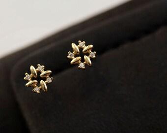 925 stering silver shiny clover stud earrings E/_00048
