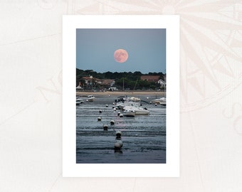 """Map """"LUNE ROSE"""" Photography 13x18 cm with white borders Limited Edition"""