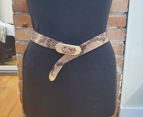 Judith Leiber Brown Snakeskin Vintage Belt