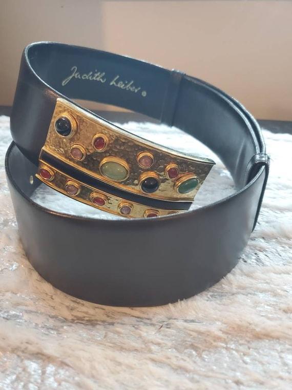 Judith Leiber Black Leather Vintage Belt