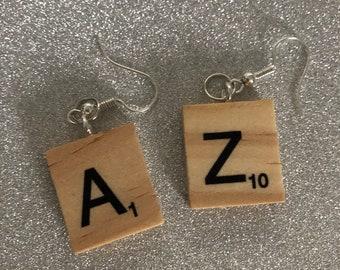 CUSTOM Scrabble Tile Letter Earrings