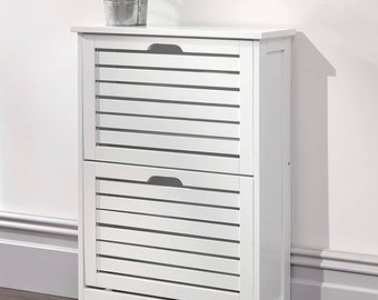 Shoe Cabinet with 2 Flaps, Shoe Rack with an Open Shelf Shoe storage white