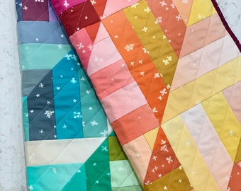"""FINISHED QUILT Ombre Quilt Small Throw Size Modern Handmade Blanket Quilt 56"""" x 48"""""""