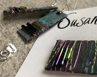 Pendant & Earring Set in Heather and Green