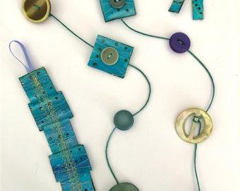 Textile & Button Necklace