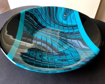 Blue Bulldog Kiln Carved Fused Glass in Display Stand