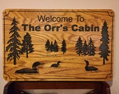 Loons and Trees Family Cabin Signs, Welcome or Lake Home Signs, Personalized Wood Carving, House Sign, Outdoor Grade