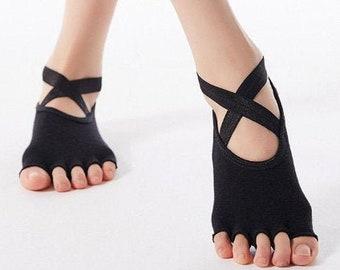 2 Pairs  Silicone Breathable Cross Band  Yoga Socks for Women Grip & Non Slip Toeless Half Toe Socks Ballet Pilates Barre Dance (US 5-8)