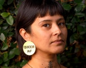 Queer AF Large Round Brass Stud Earrings