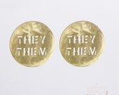 They/Them Large Round Brass Stud Earrings