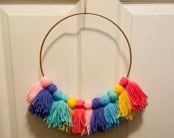 Brass Ring Rainbow Tassel Wreath