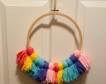 Rainbow Tassel Wreath