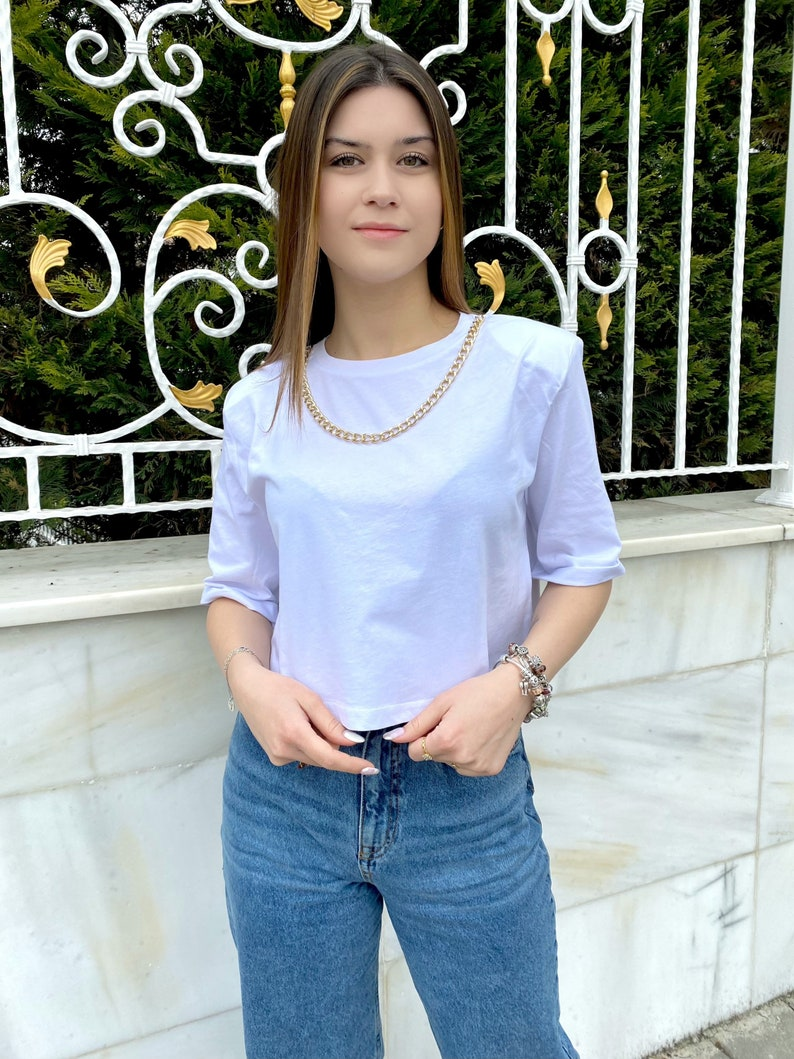 White Blouses with Gold Chain Detail Crop White T-shirt With Gold Chain Detail